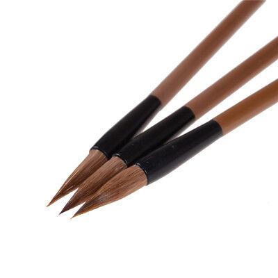3pcs Chinese Japanese Water Ink Painting Writing Calligraphy Brush Pen Brown UK 6