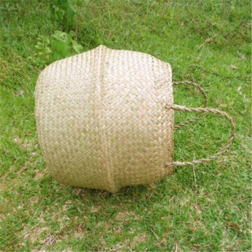 Cesta rota plegable mimbre asa redonda natural hierba de la planta GN 8