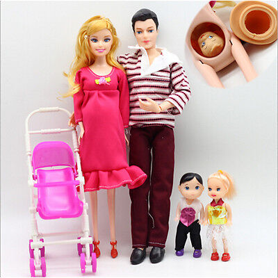 UK 6pcs/lot Dolls Family Educational Real Pregnant Doll Happy Family for Barbie 2
