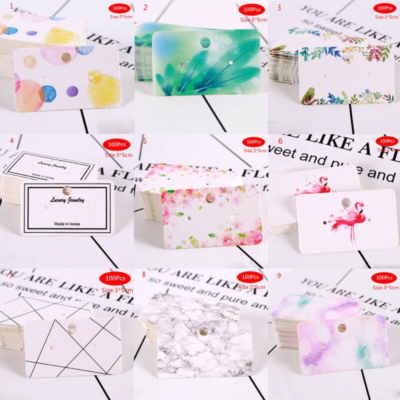 100X Earrings pack ear stud card jewelry display hang tag label printing 3x5cm & 2