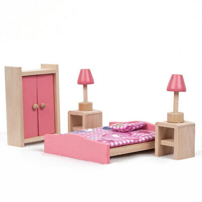 Kid Pink Wooden Furniture Dolls House Miniature 6 Room Set Doll For Gift DIY AR 7