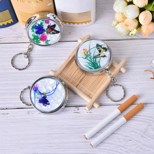 Creative Round Cigarette Keychain Portable Stainless Steel Pocket Ashtray fi 2