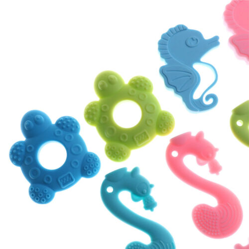 Baby Teether Teething Collares Pacifier Clips Chew Toy Silicone BPA FREE UK