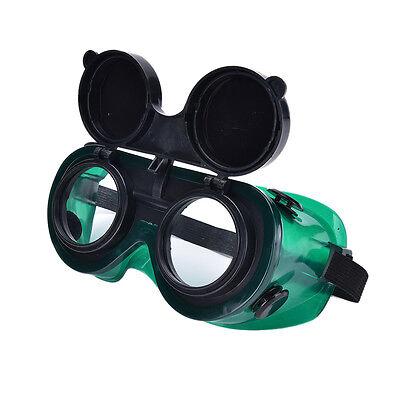 Welding Cutting Welders Safety Goggles Flip Up Glasses Dark Green Lenses New