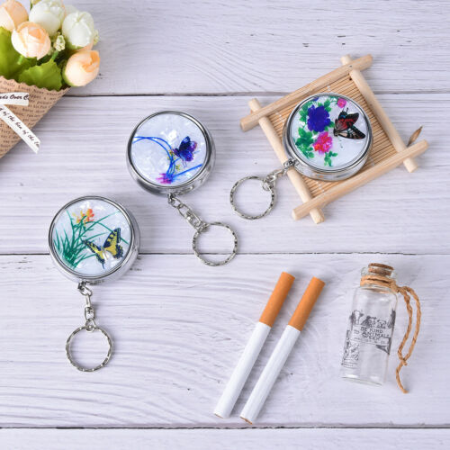 Creative Round Cigarette Keychain Portable Stainless Steel Pocket Ashtray fi 3