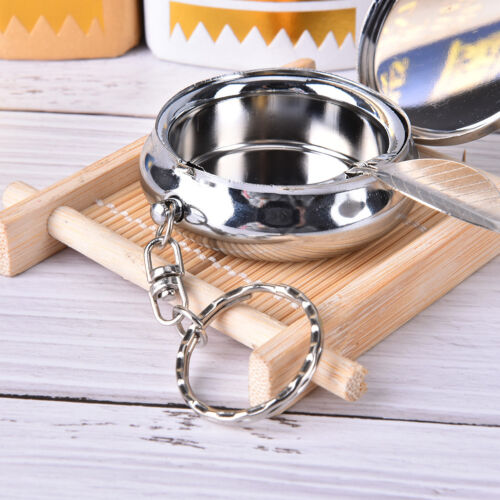 Creative Round Cigarette Keychain Portable Stainless Steel Pocket Ashtray fi 8