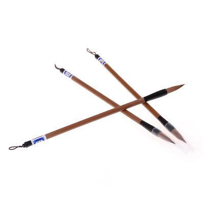 3pcs Chinese Japanese Water Ink Painting Writing Calligraphy Brush Pen Brown UK 4