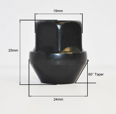 Set of 20 x M12 x 1.25, 19mm Hex Open Alloy Wheel Nuts (Black)
