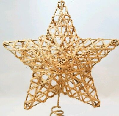 "Star Tree Topper Small Gold Rattan Christmas Natural 6"" Kurt Adler 2"