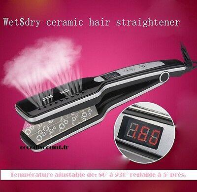 FER A LISSER LISSEUR VAPEUR CERAMIQUE PLAQUE XXL T° REGLABLE cheveux sec ou humi