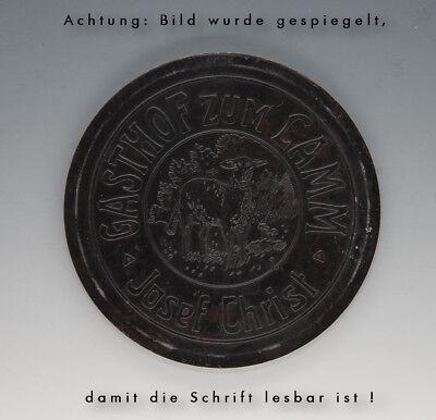 Stempelplatte für Brauereikrüge GASTHOF zum LAMM Josef Christ wohl um 1910 3