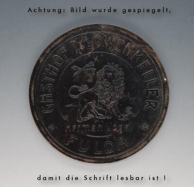 Stempelplatte für Brauereikrüge GASTHOF Z.LÖWENKELLER Herman Vogel FULDA um 1910 3
