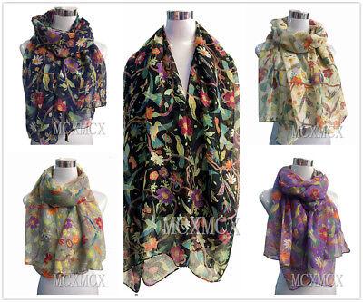 Women Ladies Long Fashion Soft Flower Bird Print Pattern Shawl Scarf Scarves UK