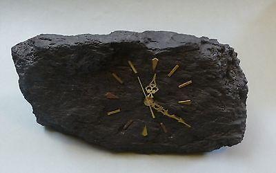 Unikat Uhr aus Kohle Steinkohle Bergmann Bergbau Batteriewerk groß 39 cm breit 9