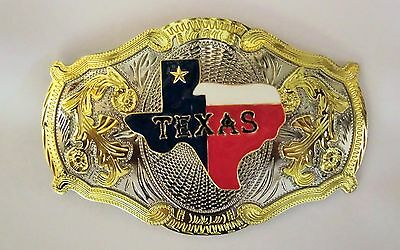Texas Map Western Cowboy Texas Flag Rodeo Gold Oversize Belt Buckle