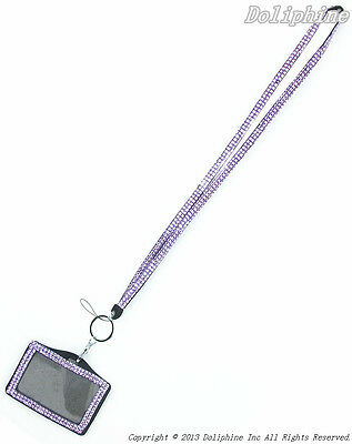 Bulk Wholesale Multi-Color Bling Rhinestone LANYARD & Horizontal ID Badge Holder
