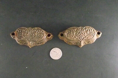 2 Antique Eastlake Style Cast Drawer Pulls  Cupboard,  Cabinet Drawers 2