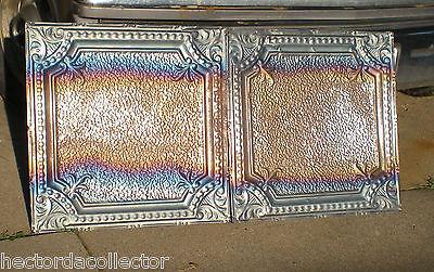 1890s Antique Iridescent Carnival Ceiling Tin Tile Fleur De Li Shabby Chic 3