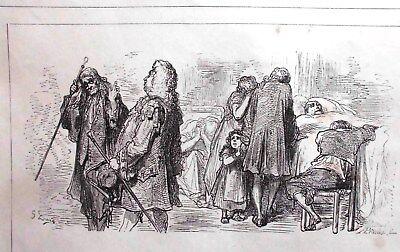 G.Dore1889/2 Blatt Holzschnitte zu LES MEDICINS:Fabeln de la Fontain.Drucksign. 7