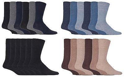 IOMI - Mens 6 Pack Wide Loose Top Non Binding Elastic Cotton Crew Diabetic Socks 10