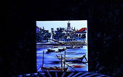 Vintage Hand Painted Azupal Pombal Ceramic Decorative Tile 2