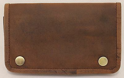 Quality Full Grain  Vintage Leather Tobacco Pouch. Style:12033. BLACK/BROWN 7