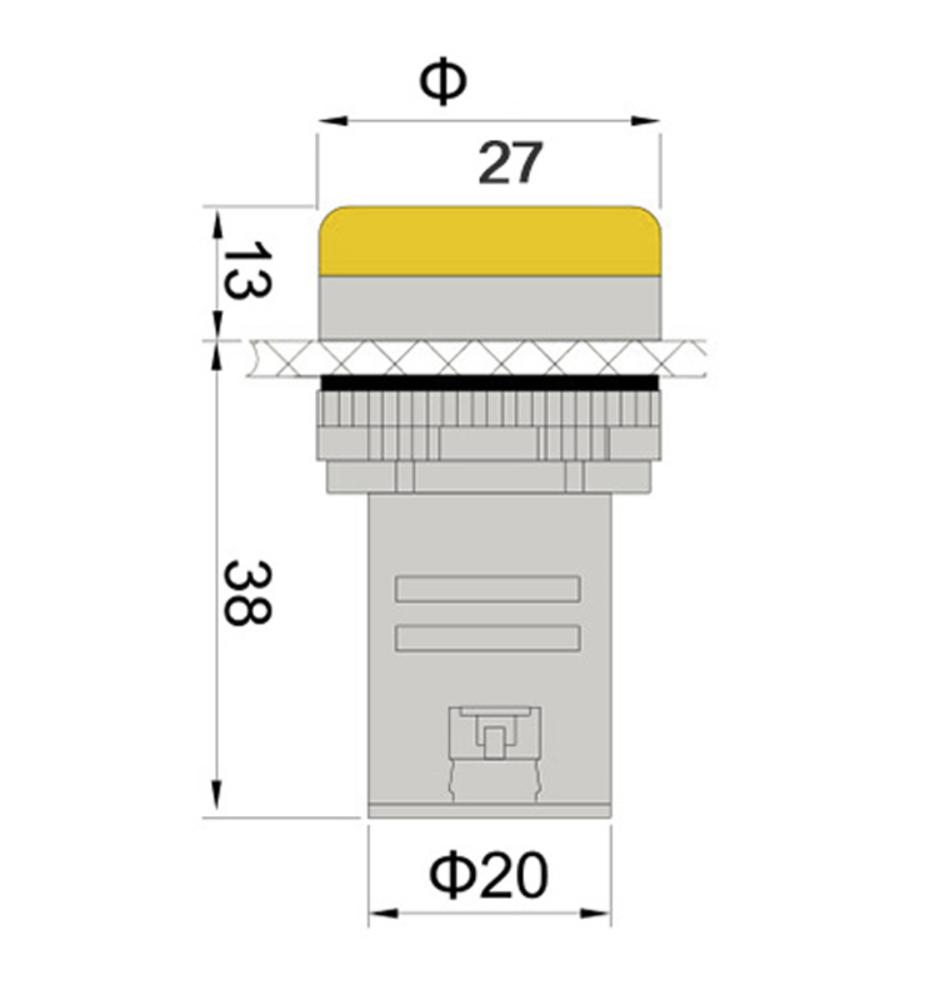 voyant lumineux led 27 mm industriel 12 volts ou 220 volts signal 2