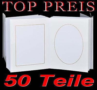 Leporello für 50 Fotos 13x18 - weiß mit Goldkante - Passepartouts eckig + oval 2