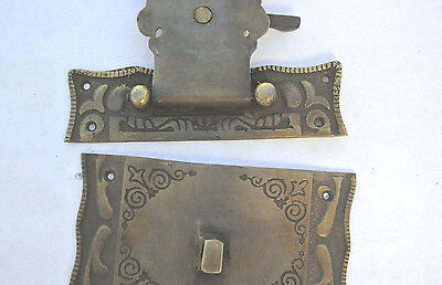 """4 box Latch catch solid brass furniture antiques doors kitchen old style 3"""" B 7"""