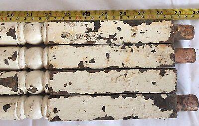 4 Antique Turned Cast Iron Spindle Baluster Garden Table Legs Old Vtg 70-17J 4
