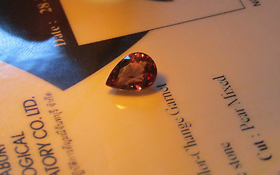 Rare Certified Beautiful Eye Clean Pear Cut 1.28ct Colour Change Garnet.