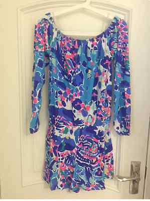 fed4a68eb814 ... LILLY PULITZER LANA OFF THE SHOULDER ROMPER Multi Hit The Spot XS-XL 4