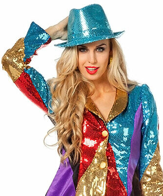 Pailletten Frack Damen Kostüm Karneval Jacke Garde bunt