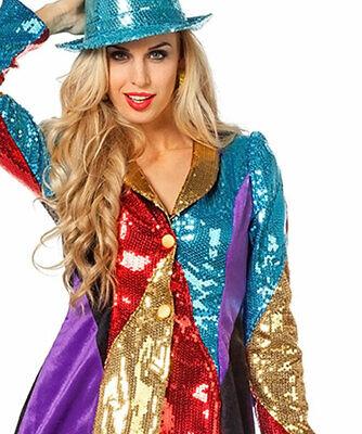 Pailletten Frack Damen Kostüm Karneval Jacke Garde bunt Party Kabarett Fasching