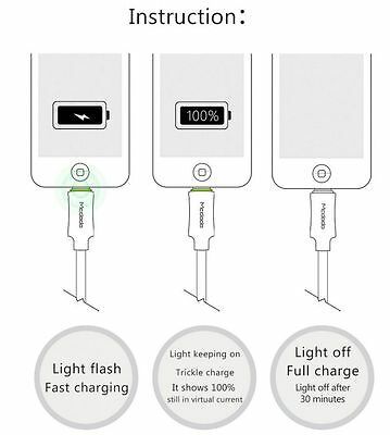 Turn OFF Smart LED Auto Disconnect Data USB Charging Cable iPhoneX/8/7