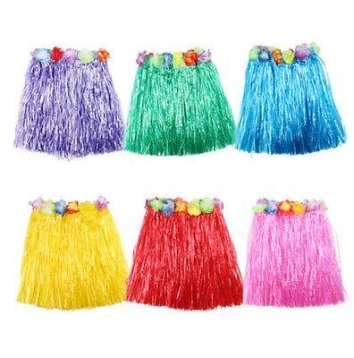 Fashion Kids Adult Hawaiian Hula Grass Skirt Flower Wristband Party Beach DWCP