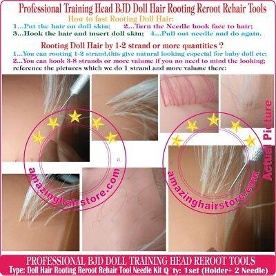 Training Head MLP BJD Doll Hair Rooting Reroot Reborn hair Needle FULL Tool Kits 5