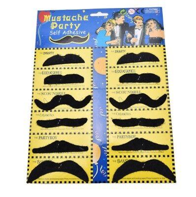 Stick On Fancy Dress Fake Moustaches Tash Mustache Stag Hen Party Pack Black UK 3
