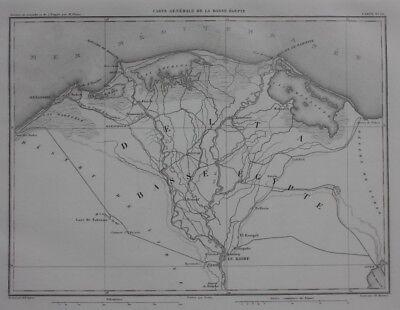 Original antique map EGYPT, NILE DELTA, ALEXANDRIA, CAIRO, GIZA, Dufour, 1859