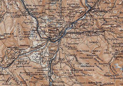 1929 Original Vintage Map Of Berchtesgaden And Vicinity / Bayern Bavaria Germany 4