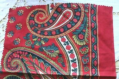 Antique French Block Printed Turkey Red Cotton Fabric c1860-70~Bandana~Paisley 3