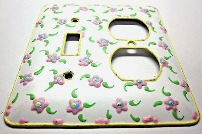 Funky 2 Gang Combo Switch Outlet Wall Plate Cover Hand Painted Floral 3