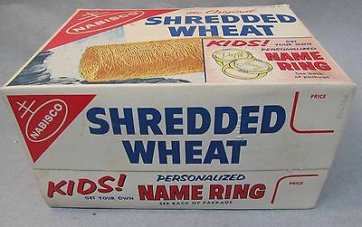 1950's NABISCO SHREDDED WHEAT complete box PERSONALIZED NAME RING.  high grade