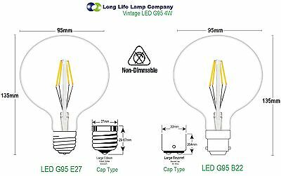 Antique Style Edison Vintage LED Light Bulbs Industrial Retro Lamps B22 or E27 6