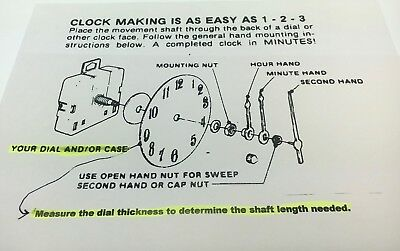 "Takane Quartz Battery Clock Movement Hand Set 5/8"" Shaft fits 1/4"" Dial USA made"