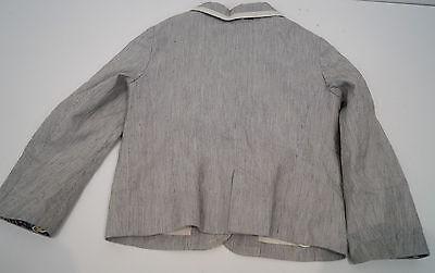 BONPOINT Baby Toddler Grey & Cream Cotton Linen Striped Formal Blazer Jacket 3Y 5