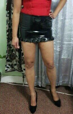 Pvc Noir Mini Jupe Courte Taille Haute Femmes Aspect Mouillé Tube Stretch Pour Crayon