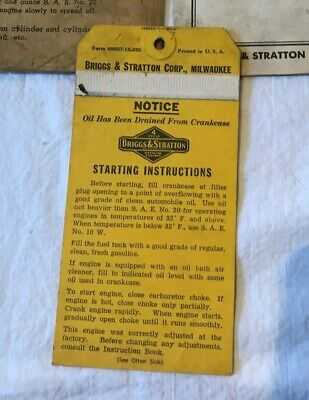 Vintage Briggs & Stratton Engine Operating Instructions Booklet Model 6B-H 6B-HF 4