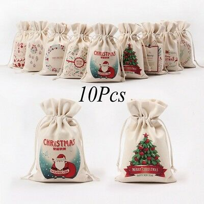 2 of 12 10 pack christmas candy bags canvas santa sack drawstring bags xmas decoration - Christmas Candy Bags