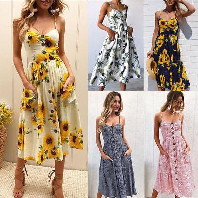 Plus Size Women Beach Floral Print Sundress Holiday Ladies Party Midi Dresses 3